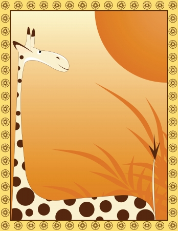 giraffe frame: big giraffe on background as savannah with frame