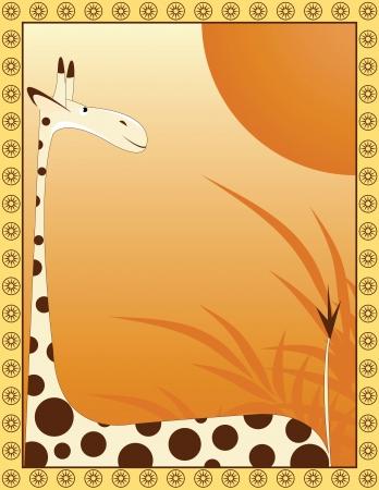 hoog gras: grote giraffe op de achtergrond als savanne met frame
