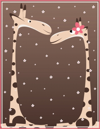 two giraffe on background with many flowers Vector