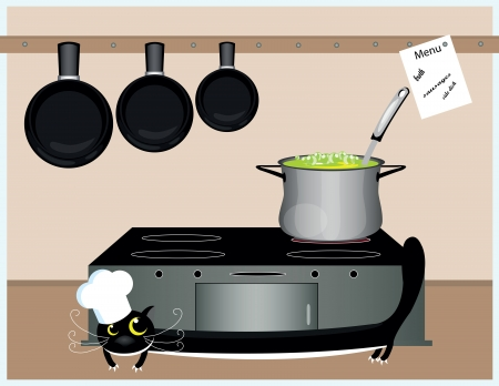 big black cat cooking soup in the kitchen Vector