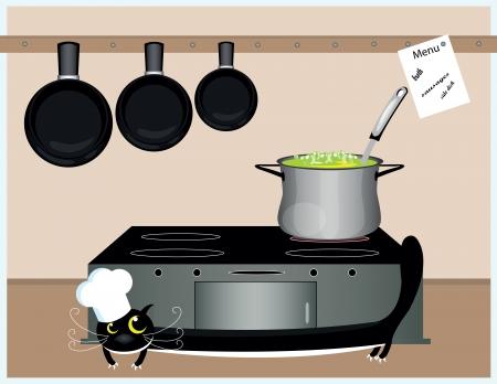 whisker characters: gran sopa cocinar gato negro en la cocina
