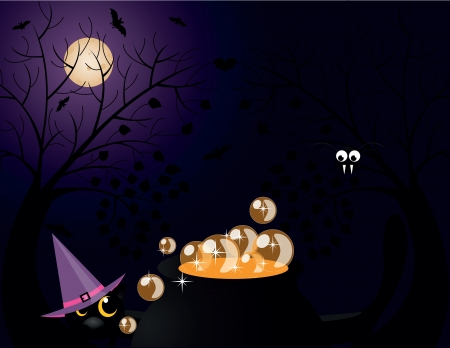 lllustration: halloween critters with cat, Moon, bat, spider Illustration