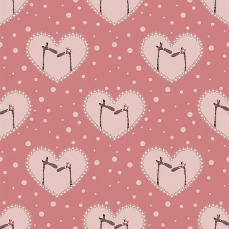 valentine s day pattern with two  affectionate giraffes Vector