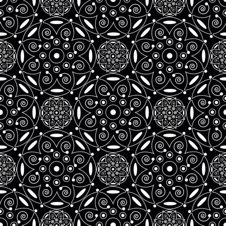 abstract white seamless pattern on black background Illustration