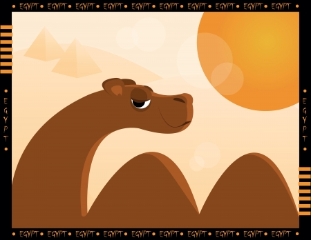 camel in desert with sun and pyramid Vector