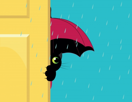 cat under an umbrella looking out of the door Vector
