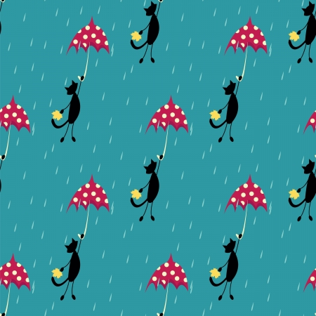 seamless pattern with cat fly with red umbrella Illustration