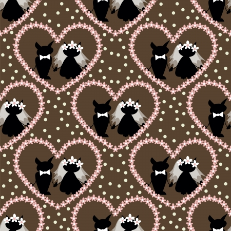 seamless pattern with  two love cat on  wedding Vector