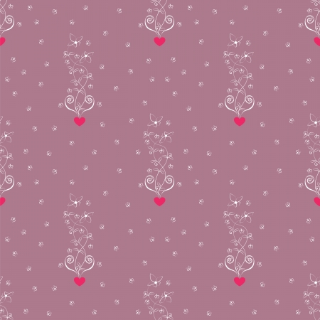 seamless pattern with heart, flower and butterfly Vector