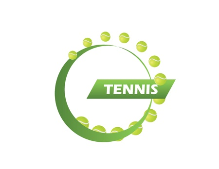 tennis logo of the many balls symbolizing blow Illustration