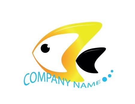 logo poisson: logo poisson avec nom de l'entreprise que l'onde