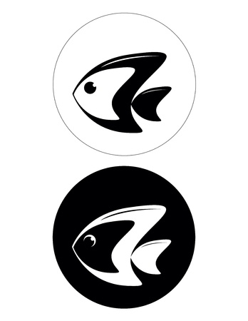 set of two black and white fish logo Stock Vector - 16659592