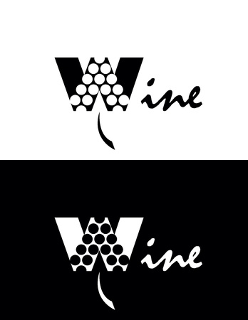 set of two black and white elegance wine logo Vector