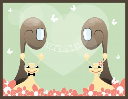 background with two snail with heart and flower Vector