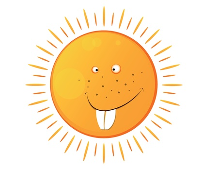 freckles: big isolated smiling sun with many freckles Illustration