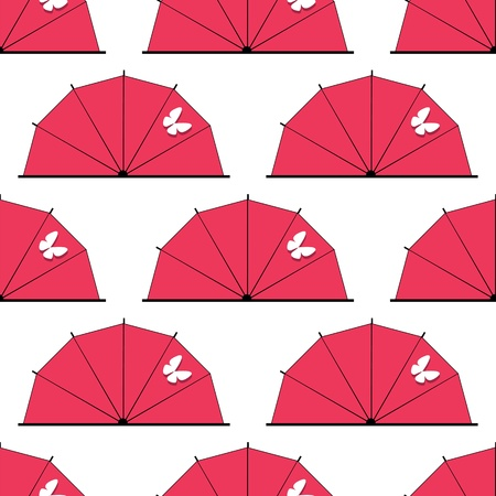 Japan eamless pattern as umbrella or parasol with butterfly Stock Vector - 16951752