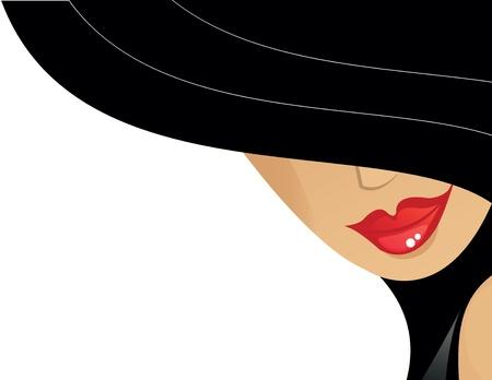 kobiet: kobiety z czarnym kapeluszu i czerwone usta Ilustracja