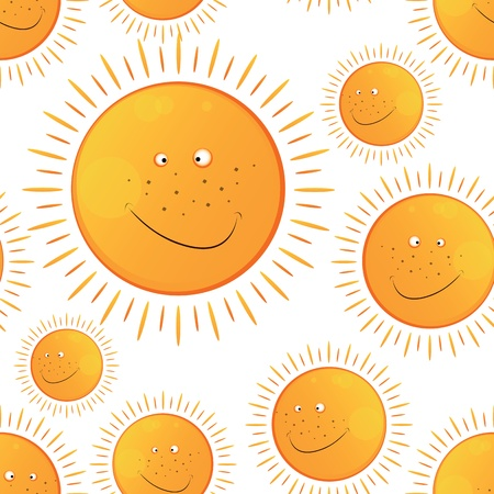 funny smiling sun in the  seamless pattern Illustration
