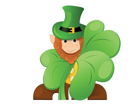 clover face: leprechaun or gnome on patrick day lurk for clover Illustration