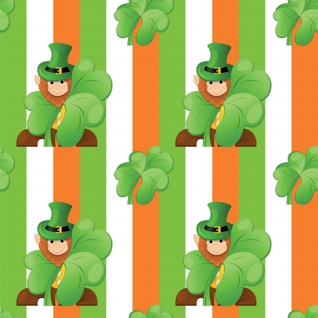 seamless pattern on patrick day with leprechaun and  clover Stock Vector - 17595047