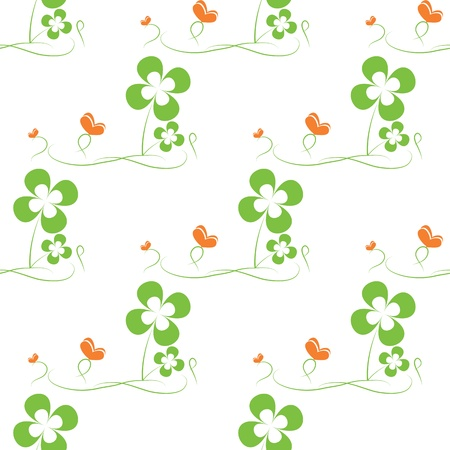 St. Patrick's day seamless pattern with clover and butterfly Stock Vector - 17595052