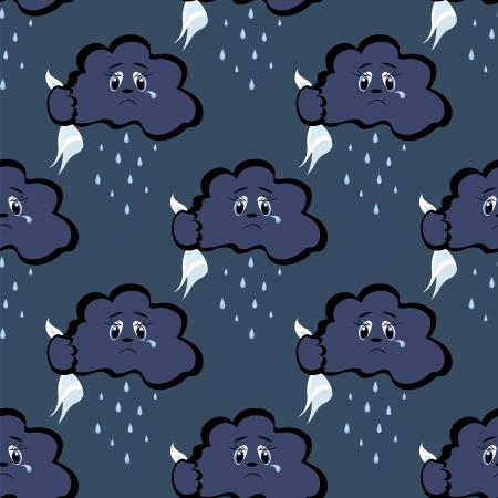 naadloze patroon met donkere wolken en regen