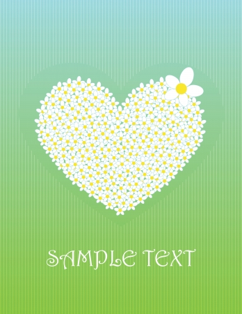green card with big flower heart Vector