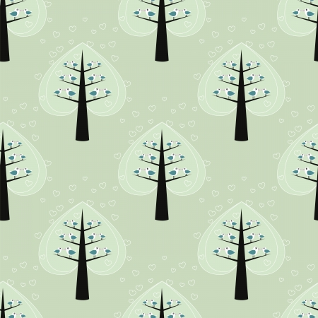 seamless pattern with tree and bird Vector