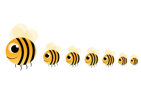 large group of animals: family bee fly on white background Illustration