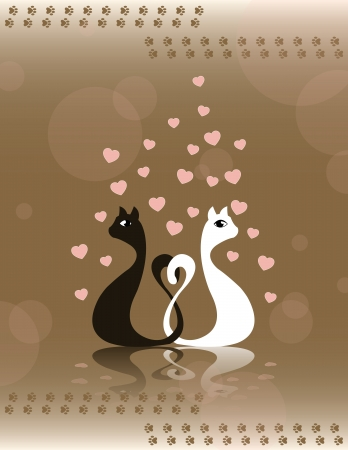 card with pair loving cats and heart Vector