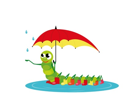 red boots: caterpillar with red umbrella and boots