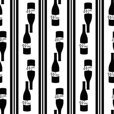 sauvignon: seamless pattern with symbol of wine as bottle Illustration