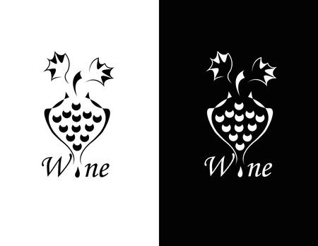 revivalism: set of two black and white elegance wine symbol Illustration