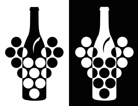 set of two black and white elegance wine symbol Stock Vector - 18512740