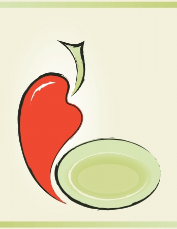 background for menu with pepper and plate Vector