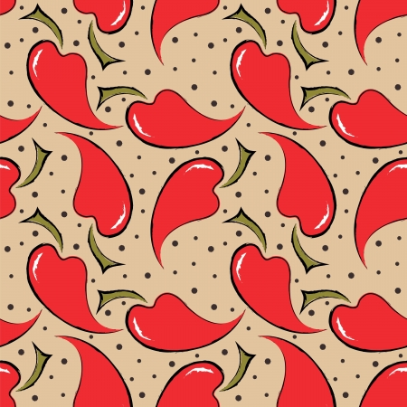 seamless pattern with red peppers