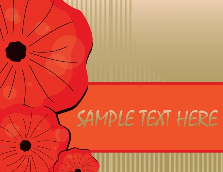 background with red poppy on green Illustration