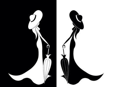 dress coat: set di donne con ombrello