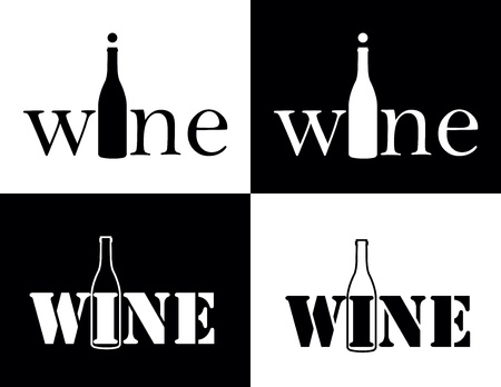 set symbol of wine as bottle Stock Vector - 18583008