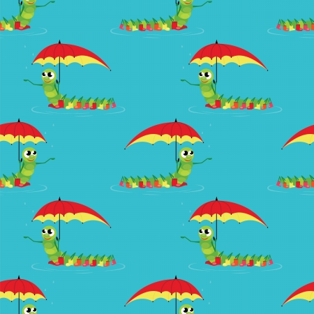 seamless pattern with caterpillar on red umbrella Vector