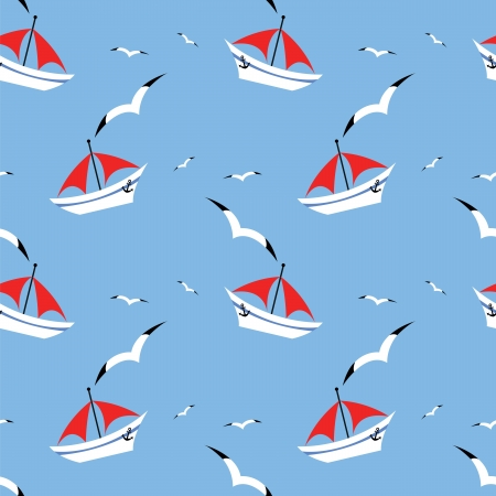 seamless pattern with yacht on sea and  seagull Vector