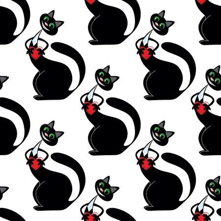 white seamless pattern with black cat with heart Vector