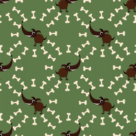 seamless pattern with dog with bone Vector