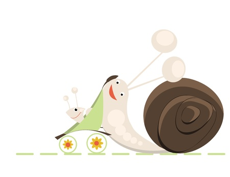 Family of snails on a walk Vector
