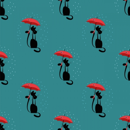 seamless pattern with love cat with umbrella