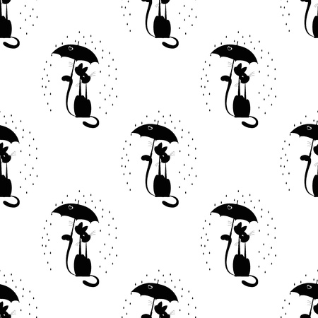 seamless pattern with love cat with umbrella Vector