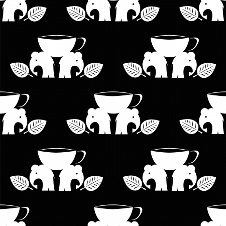 primitivism: seamless pattern with elephant with cup of tea Illustration