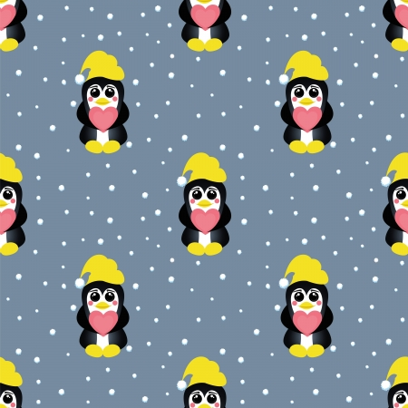 seamless pattern  with pinguin with heart under firtree Vector
