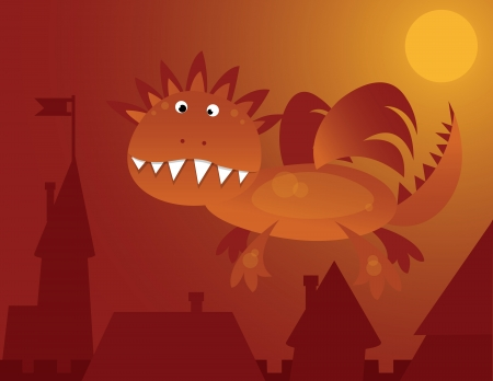 orange dragon flying over the city Vector