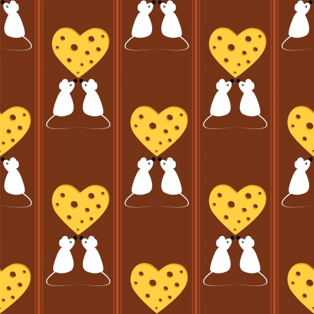 seamless pattern with mouse and cheese Vector